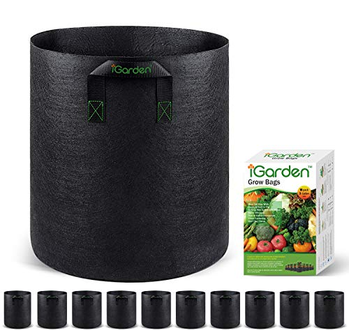 Grow Bags, 3 Gallon Grow Smart Pots 10 Pack with Handles, Heavy Duty 280G Thickened Nonwoven Fabric Plant Bag for Vegetables