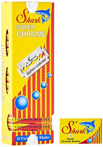 100 Lamette da barba Shark Super Chrome. Lamette da barba per rasoi di sicurezza