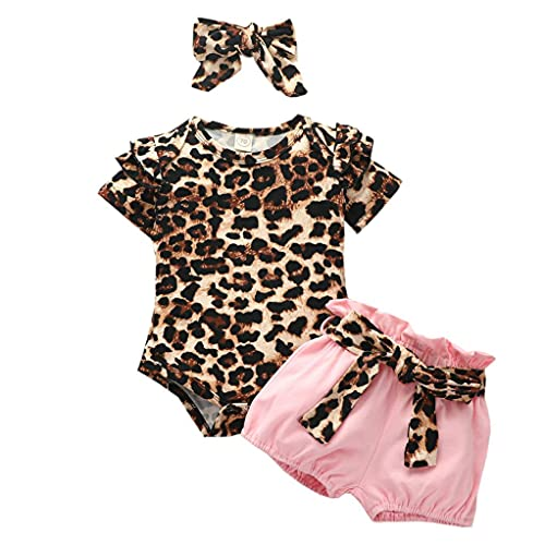 L&ieserram Florali - Conjunto de 3 piezas de ropa de niña con estampado de flores o puntos, de leopardo, de manga corta con encaje + pantalones cortos con cinturón LEOPARDO 0- 6 Meses