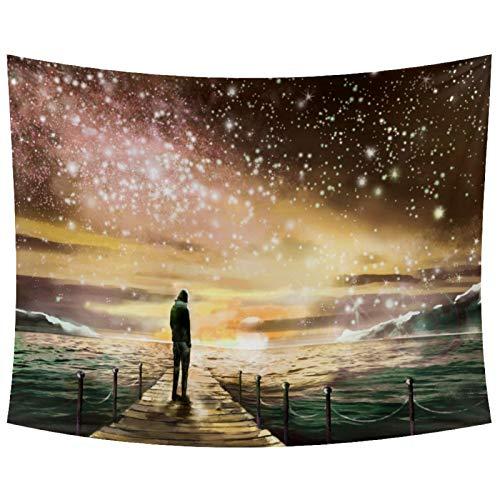 Anmarco Tapiz para colgar en la pared, diseño de hombre de pie en el mar bajo el cielo estrellado, decoración del hogar, para sala de estar, dormitorio, 201,2 x 132,4 cm