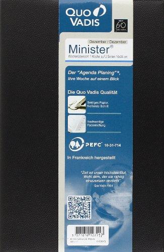 Terminkalender Minister, Kalendarium 1 Woche/2 Seiten, Wochenzählung, schwarz
