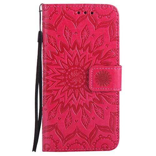 Nancen Compatible with Handyhülle Galaxy S5 Hülle,Galaxy S5 / I9600 SM-G900F (5,1 Zoll) Leder Wallet Tasche Brieftasche Schutzhülle, Nancen Prägung Sonnenblume Muster