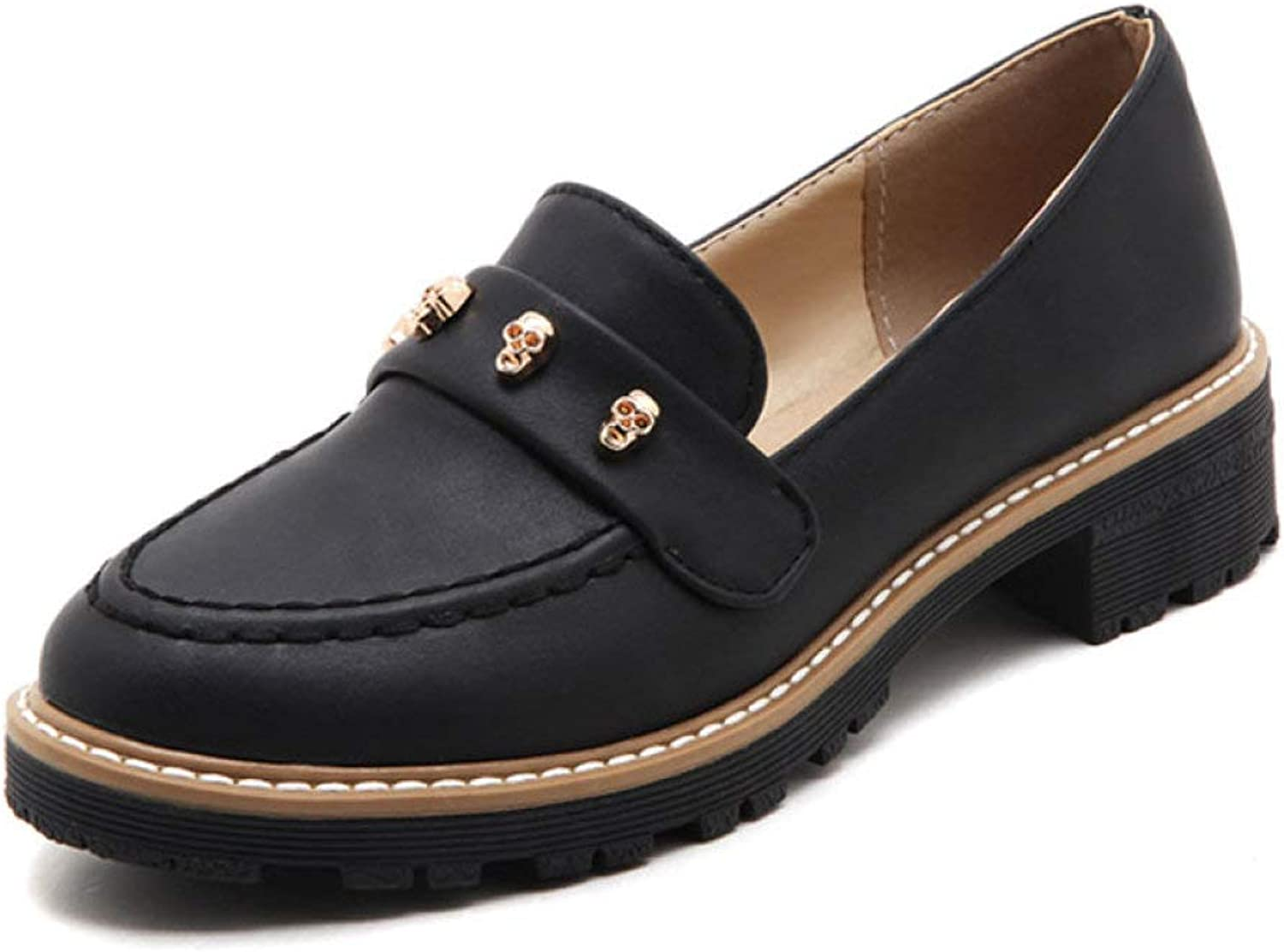 Fay Waters Women's Metal Skull Platform Loafer shoes Round Toe Slip On Mid Heel Fashion Oxfords