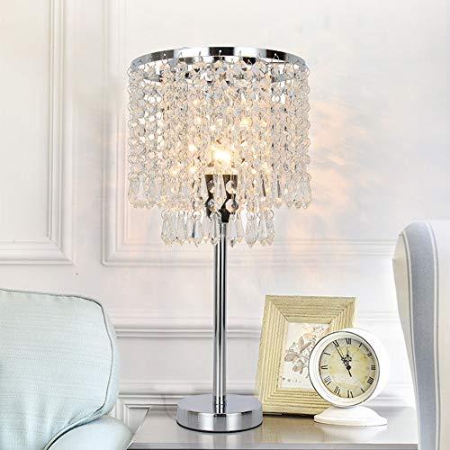 Stella Fella Plata Moderno Minimalista Dormitorio de Noche Decorativo de Cristal lámpara de Mesa de la Personalidad Creativa de la Boda cristalina romántica habitación lámpara de Mesa 20 * 43 (cm)
