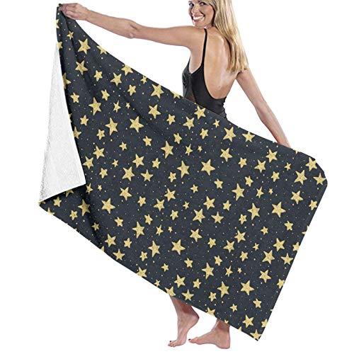 Toalla de baño, 80 x 130 cm, diseño de estrellas amarillas de dibujos animados, súper absorbentes, toallas de baño, para gimnasio, playa, spa, spa, etc