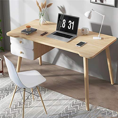 Se7ven Robusto Madera Escritura Tabla para Hogar Oficina,Moderno Estilo Mesa de Oficina,PC Laptop Notebook Mesa de Estudio,Escritorio de Computadora con 2 Cajones