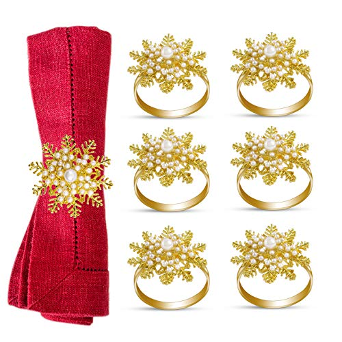 eulogize 6 Pieces Christmas Napkin Rings- Snowflake with Pearl Napkin Holder Rings for Christmas Holiday Dinner Wedding Party Dinning Table Decoration