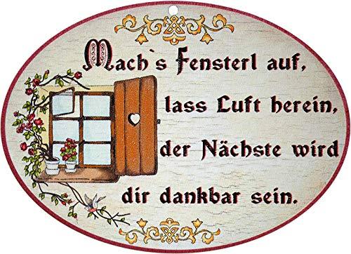 Kaltner Präsente Geschenkidee - Holz Geschenkartikel Deko Türschild im Antik Design Dekoartikel Motiv Toilette Mach´s Fenster auf (Ø 18 cm)