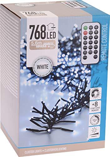 Cluster lichtketting 768 leds 5,6 m koud wit met afstandsbediening dimmer timer 8 lichteffecten binnen- en buitenverlichting decoratie Kerstmis
