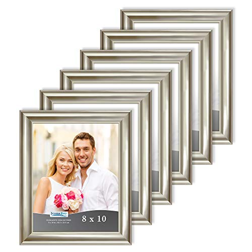 Icona Bay 8x10 Picture Frames (Champagne, 6 Pack), Contemporary Photo Frames 8 x 10, Wall Mount or Table Top, Elegante Collection