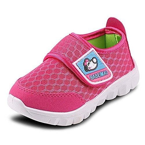 BAINASIQI Unisex Babyschuhe Kinder Sommer Atmungsaktives Mesh Sportschuhe Jungen Mädchen Freizeitschuhe Sneaker Lauflernschuhe Krabbelschuhe mit Weiche Sohle, Rot-2, 28 EU