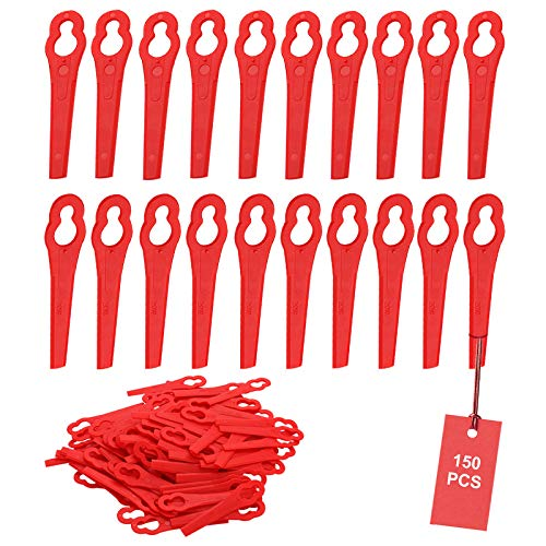SWAWIS 150 Stücke Rasentrimmer Messer Rot Ersatzmesser Rasentrimmer Kunststoff Rasenmäherklinge Kunststoffmesser Rasentrimmer Rasentrimmer für FRT18A FRT18A1 Kunst 46155 FRT20A1 Zubehör