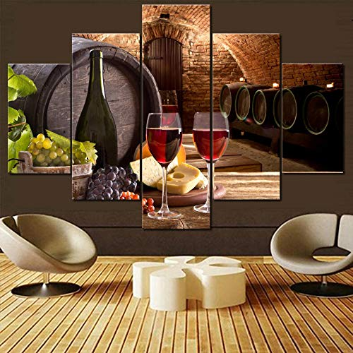 Canvas Wall Art Wine Bottle and Wine Glasses with Wooden Barrel Picture for Living Room Multi Panel Cellar Prints Artwork Modern Painting House Decor Framed Gallery-Wrapped Ready to Hang(60''Wx40''H)