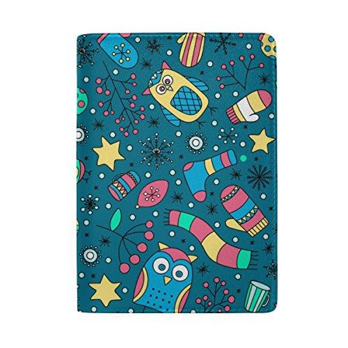 ColourLife Capa de couro para passaporte com símbolos natalinos para homens, mulheres e crianças
