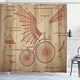 DYCBNESS Cortina de Ducha,Diseños de bocetos de Da Vinci para Bicicletas Retro Flying Machines,Material Resistente al Agua Durable Estampa Digital Cortina de Baño Impermeable,180 x 180 cm