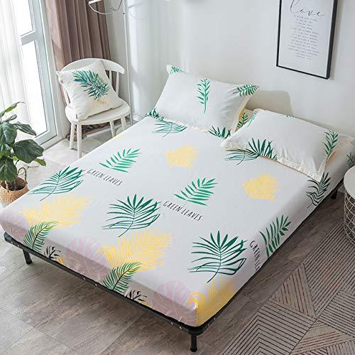 Hllhpc Mooie groene blad bedrukte linnen vellen en elastische lakens linnen zachte 100% katoen cover van grote familie en tuin grote vellen