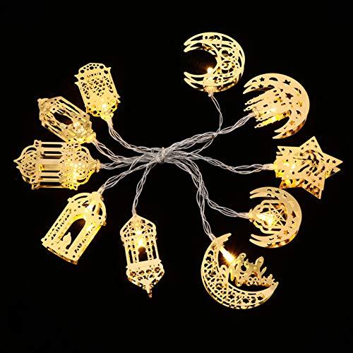 Uonlytech 1 juego de luces musulmanas Ramadán para fiesta Eid Mubarak decoración hada cadena de luces LED funciona con pilas, lámpara Ramadán para festival dorado