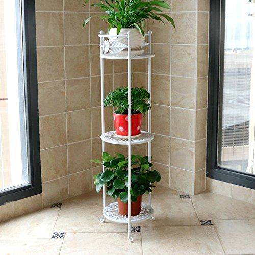 balcon voyantes Support de fleur à trois niveaux en fer forgé, support de fleur de balcon, support de pot de fleur décoratif de plancher de salon, étagère de fleur Plantes d'extérieur Présentoir ( Couleur : Blanc )