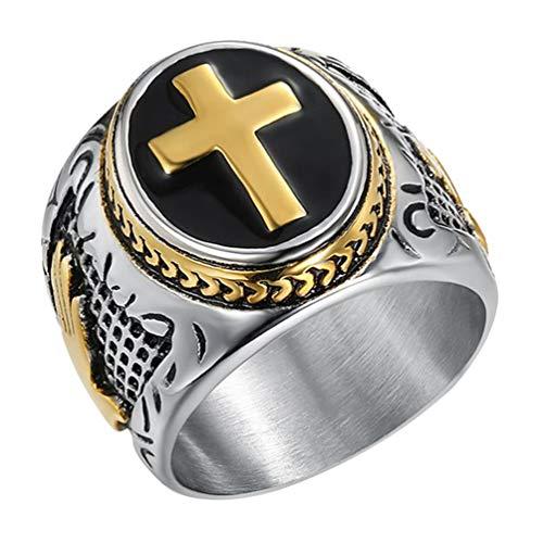 Holibanna Aliança masculina cristã, anel de senhores da cruz sagrada, versículo da Bíblia religioso católico, joia para homens, marido
