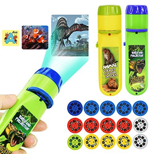 Linterna para bebé, linterna para proyector para niños, juguetes para proyector de buenas noches para niños, dinosaurio + océano + animal + espacio + letras (120 imágenes, juego de 5)