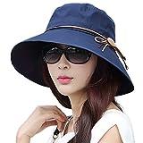 SIGGI Faltbarer Sonnenhut Sommerhut mit Sonnen Schutz Baumwolle Damen breite Krempe Schwarzblau
