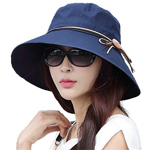 SIGGI SIGGI Faltbarer Sonnenhut Sommerhut mit Sonnen Schutz Baumwolle Damen breite Krempe Schwarzblau