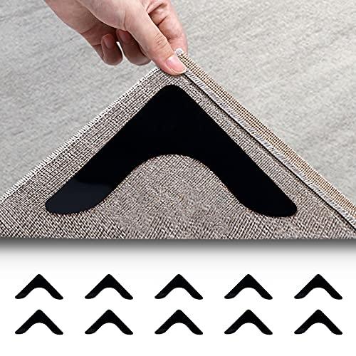 Rosmax Rug Gripper, 10 PCS Non Slip Rug Pad for Hardwood Floors and Tile, Non Skid Reusable Rug Corner Grippers & Make Corner Flat (Black)