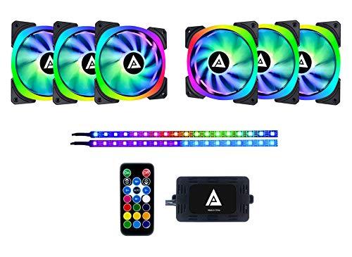 Apevia LP612L2S-RGB Lunar Pro 120mm Silent Dual-Ring Addressable RGB Color Changing LED Fan with Remote Control, 28x LEDs & 8X Anti-Vibration Rubber Pads w/ 2 Magnetic Addressable LED Strips (6+2-pk)