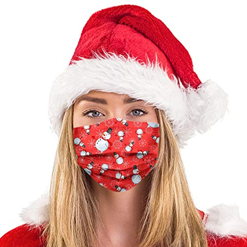 50PC Disposable Face_Masks,Unisex 3-ply Non-Woven Fabric Christmas Printed Facial Decorations Made in USA