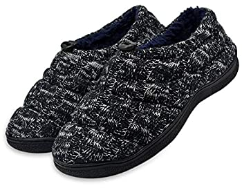 Mens Cozy Cashmere Memory Foam Slippers Fuzzy Cotton Lining Knitting House Shoes Non-Slip Rubber Sole Black