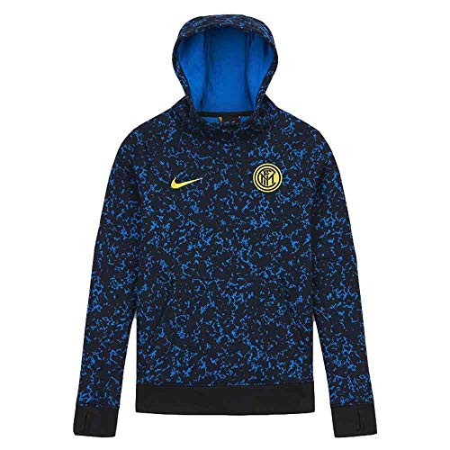 NIKE Inter Y NK Gfa FLC Po Hood Sweatshirt, Unisex niños, Black/Tour Yellow/Tour Yellow no Sponsor, L