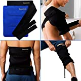 Ice Packs for Injuries Reusable Large Hot Cold Gel Pad Wrap w/Strap for Back Knee Shoulder Rotator Cuff Hip Replacement Elbow Arthritis Surgery Pain Relief Flexible Recovery Bag 14 x 11 by TheraCool