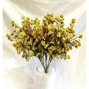 Floral Décor Supplies for 12 Baby's Breath Artificial Gypsophila Silk Wedding Flowers Centerpieces Faux for DIY Flower Arrangement Decorations – Color is Sage Green/Yellow