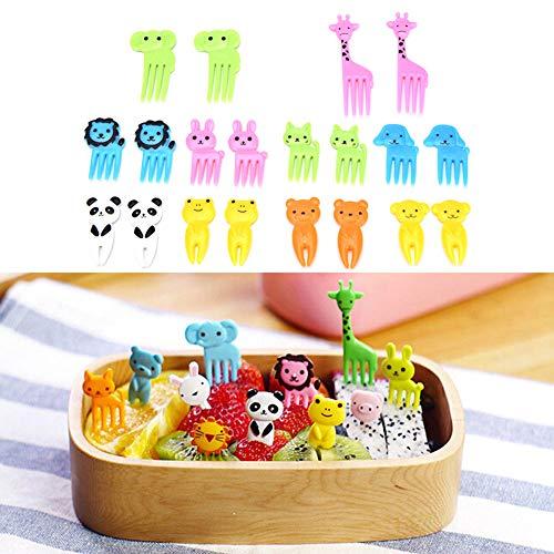 Sarplle Mini Tiere Zahnstocher 20 Stück Fruchtgabel Bento Kawaii Tierfutter Obst Picks Lunchbox Werkzeug für Kinder Party Obst, Gebäck, Desserts, Snacks