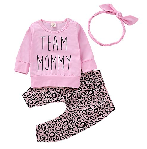 Inflant Baby Girl Leopard Outfit Long Sleeve My Aunt Says Yes Shirts Tops Long Pants Heaband Clothes (0-6 Motnhs, Pink)