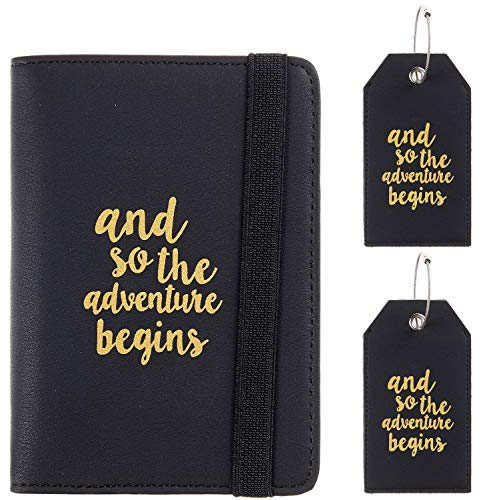 Casmonal Passport Holder Cover Wallet RFID Blocking Leather Card Case Travel Document Organizer(02 Napa Black with 2 Tags)