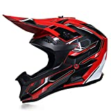 Casque de motocross pour adulte, casque de motocross avec lunettes, gants, casque de moto cross Pro, casque intégral BMX pour homme, femme, convient pour vélo, quad, VTT, scooter (rouge, M)