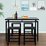 InstaWing 5 Pieces Dining Table Set,Industrial Style Counter Height Kitchen Table with 4 Backless Chairs,Bar Pub Table Set for for Breakfast Nook, Kitchen Room, Mini Bar or Patio (Espresso)