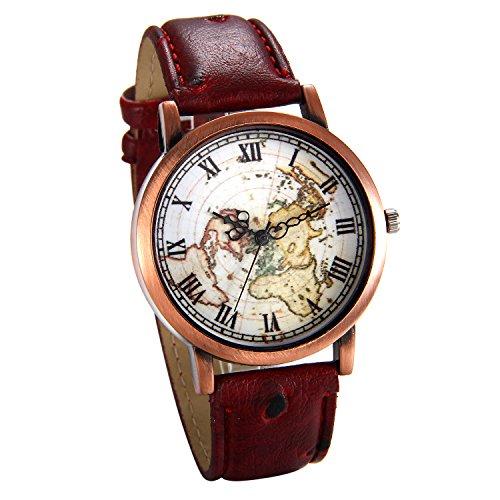 JewelryWe Herren Damen Armbanduhr, Retro Analog Quarz Weltkarte Globus Karte Uhr mit Römischen Ziffern Zifferblatt und Leder Armband, Farbe: Rot
