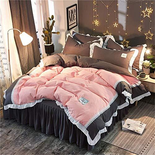 352 FUKA Bedding Set Princess Cotton Egypt Ruffle Duvet Cover Bed Skirt Pillowcases Queen King Size A Quilt Cover: 200x230cm, Bed Skirt: 180x220cm