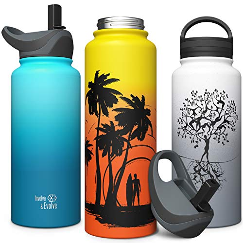 Sports Water Bottle with Straw Lid & Screw Top, Vacuum Insulated Stainless...