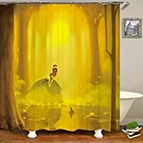 SARA NELL Shower Curtains Dreamy Cartoon Princess and Frog in Golden Forest Shower Curtain Fabric Waterproof Fabric Bathroom Curtain Set with 12 Hooks - 72 x 72 Inch
