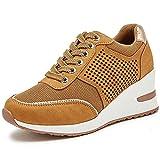 Viscozzy High Heel Wedge Sneakers for Women - Brown...