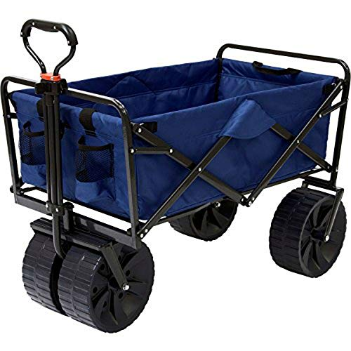 Folding Beach Wagon All Terrain Collapsible Cart Foldable Sports Dolly Gear...