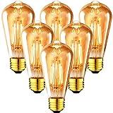 6x 6.5W Bombillas Vintage Edison LED E27, Bombillas con Filamento Casquillo Gordo,...