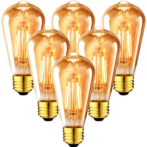 ANWIO Lampadine di Filamento LED Attacco E27,Edison Vintage Retrò ST64,6.5W Equivalenti a 54W,720 Lumen,Luce Bianca Calda 2500K, Non Dimmerabile – Pacco da 6 Pezzi.