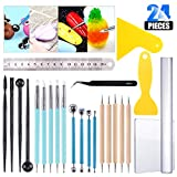 Glarks 24Pcs Carving Modeling Clay Sculpting Tool Set Including Ball Stylus Dotting Tool, Dual-Ended Pottery...