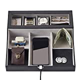 NEATOPA Men Leatherette Valet Tray EDC Organizer Nightstand Dresser Top Box with 10 Compartments Charging Station for Jewelry, Keys, Watch, Wallet(Black)