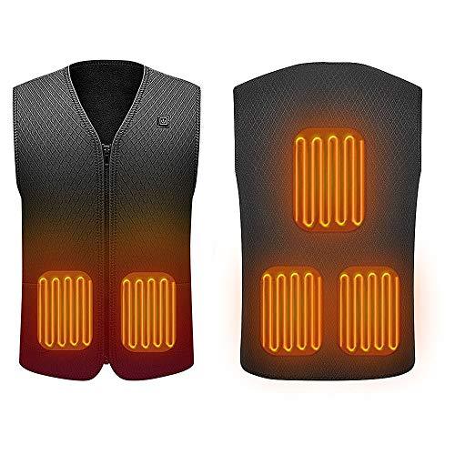 Suxman Gilet riscaldato USB, Giacca riscaldabile elettrica, Scaldino riscaldante per Uomo e Donna Escursionismo all'aperto, Caccia, Motocicletta, (Senza Batteria) (XXL)
