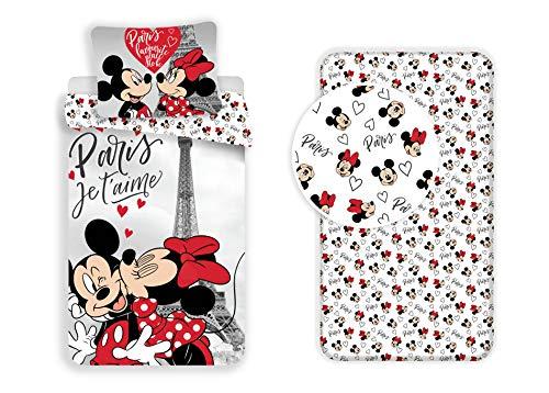 LesAccessoires - Juego de funda nórdica y funda de almohada (140 x 200 cm y 90 x 200 cm), diseño de Mickey y Minnie, color rosa